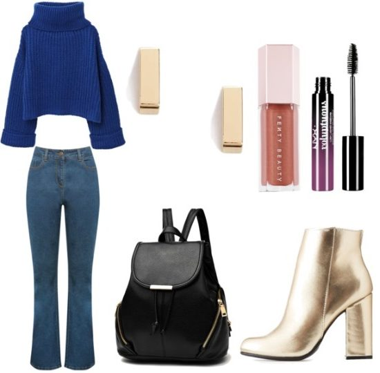 How to wear gold boots to class: Outfit with bell bottom jeans, blue turtleneck sweater, gold bar earrings, gold ankle boots, black mini backpack, lip gloss and mascara