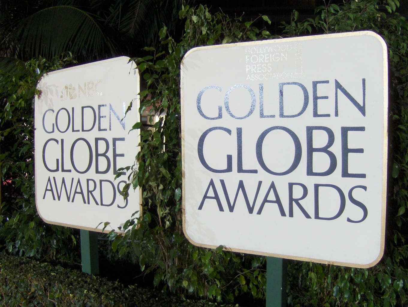Golden Globe awards signs with the awards show logo on them