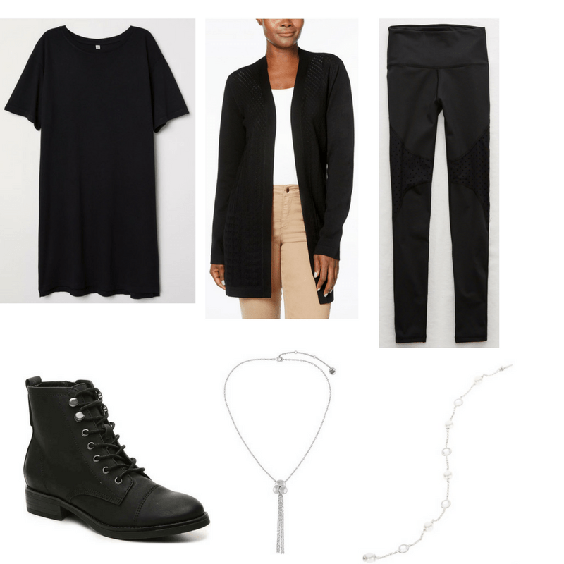 Goth Finals Outfit with black dress, cardigan, leggings, boots, tassel necklace, and chain bracelet