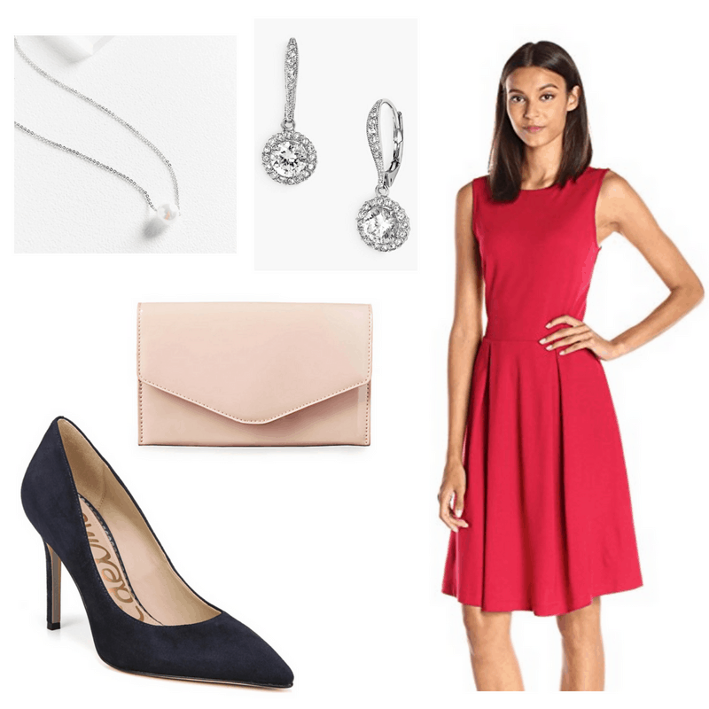 Grace Kelly style: Outfit inspired by Grace Kelly with boatneck fit and flare dress in pink, navy pumps, blush pink clutch, pearl necklace, diamond drop earrings