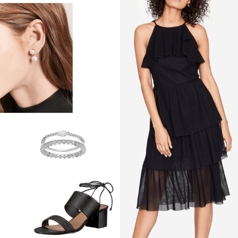 Graduation outfit: Pleated and ruffle embellished black knee-length dress, pearl double earrings, simple silver rings, black sandals