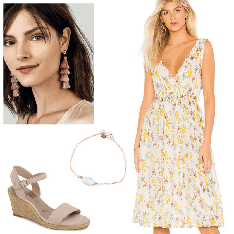 Graduation outfit idea: Floral midi dress in yellow, blue and taupe, rose gold and blue bracelet, espadrille wedges, rose gold tassel earrings