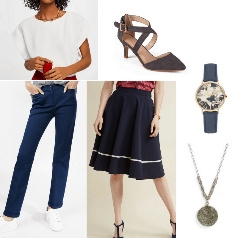 Graduation outfit idea: Chic separates -- outfit with blue pants or a navy midi skirt, a classy white tee, crisscross pointed toe heels, a blue watch, necklace