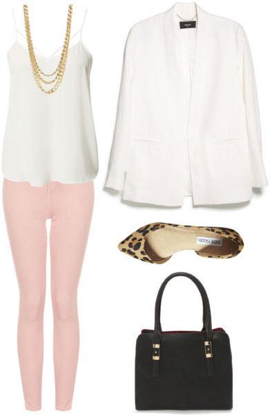 Grad school outfit: Colored denim, polished tank, cream-colored blazer, flats, handbag