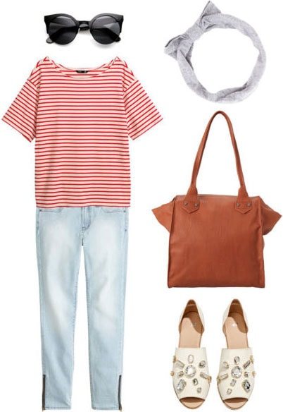 Grad school outfit: Weekend casual with boyfriend jeans, slouchy tee, sunglasses, polished tote, peep-toe flats