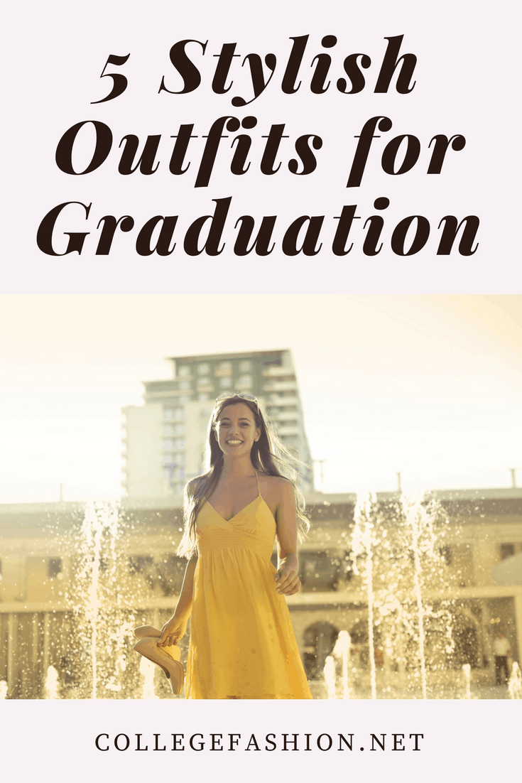 Graduation outfit ideas: Girl wearing a dress and heels at graduation