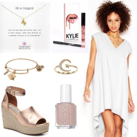 Graduation outfit idea: White high-low dress, unicorn necklace, Kylie lip kit, Graduation cap bracelet, moon ring, rose gold espadrilles, blush pink nail polish