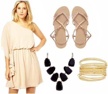 Graduation outfit one shoulder dress and sandals