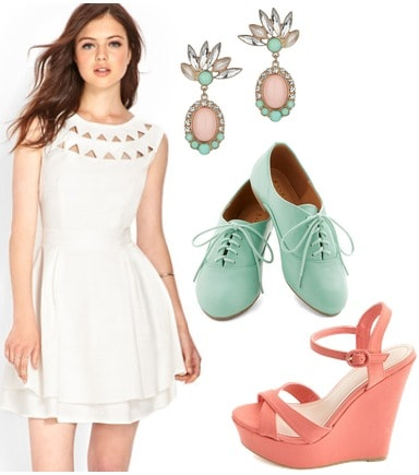 Graduation outfit white dress and pastel shoes