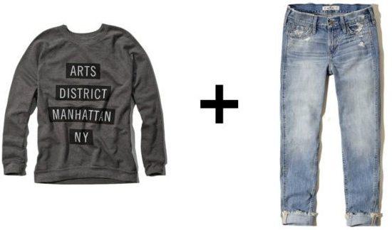 Graphic sweatshirt plus boyfriend jeans