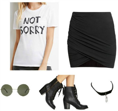 graphic t-shirt skirt and booties