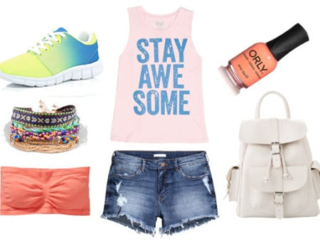graphic tank, denim shorts, colorful sneakers