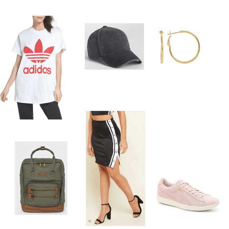 Outfit with Adidas tee, side stripe skirt, baseball cap, hoop earrings, olive backpack, and blush sneakers