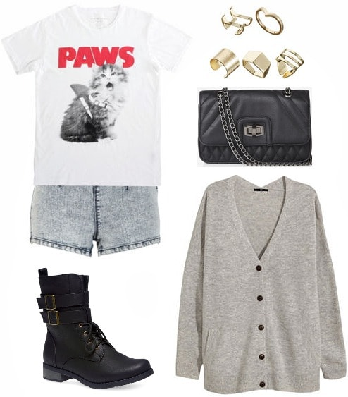 Graphic tee, cardigan, shorts, combat boots