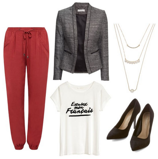 graphic tee, gray blazer, red joggers