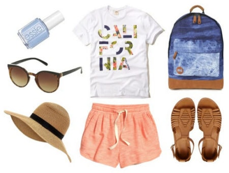 graphic tee and peach shorts