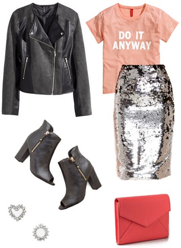 Graphic tee, sequin skirt, leather jacket