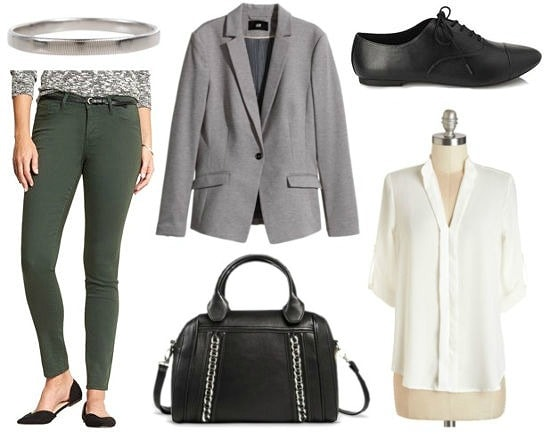 Gray blazer green jeans white blouse outfit