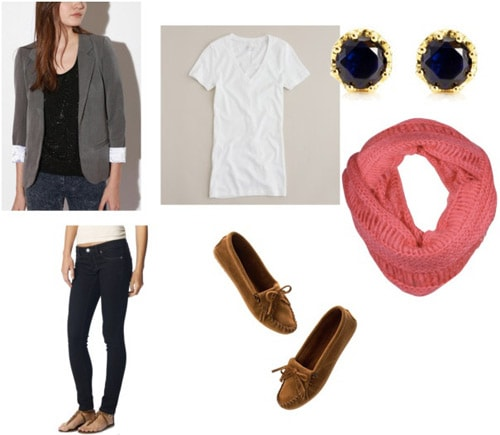 Gray blazer outfit 1: White tee, skinny jeans, coral scarf