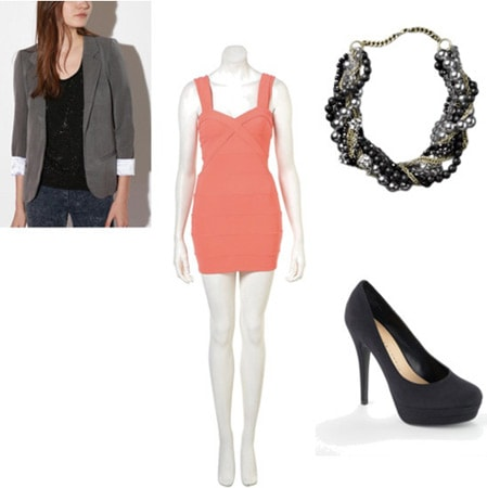Gray blazer outfit 2: Pink body-con dress, heels