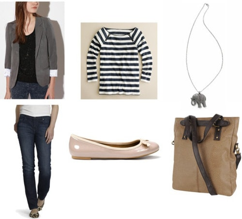 Gray blazer outfit 3: Skinny jeans, nude flats, striped tee