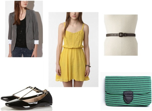 Gray blazer outfit 4: Yellow dress, flats, green clutch