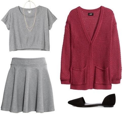 Gray crop top and skirt, cardigan, flats