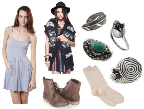 How to wear a simple gray dress with boots and a cardigan