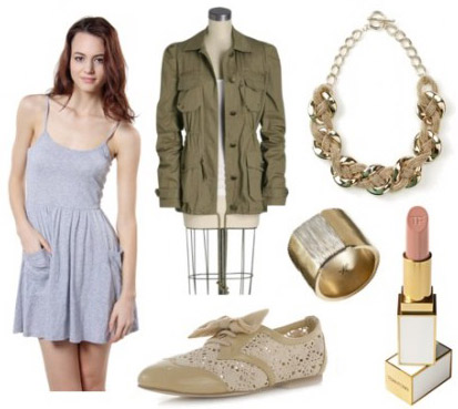How to wear a simple gray dress with a military jacket, oxfords, and gold accessories