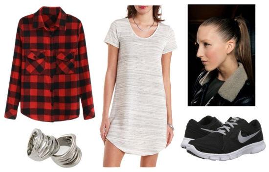 Gray dress, plaid shirt, black shoes