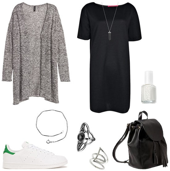 How to wear a gray knit cardigan with a t-shirt dress