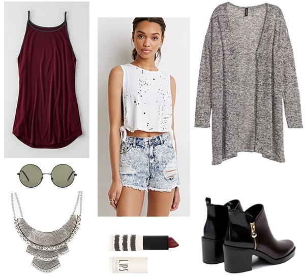 How to wear a gray knit cardigan with acid wash shorts, a burgundy tank, and ankle boots