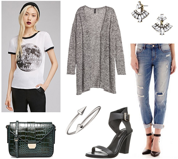 How to wear a gray knit cardigan with a graphic tee, boyfriend jeans, and a cross-body bag