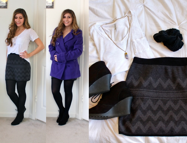 Gray-Knit-Chevron-Skirt-White-Pocket-Tee-Black-Tights-Bright-Purple-Double-Breasted-Coat