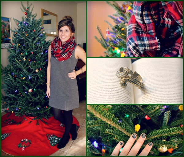 Gray-Quilted-Dress-Plaid-Infinity-Scarf-Bangle-Black-Gold-Glitter-Nail-Polish-Christmas-Tree-Top-Knot