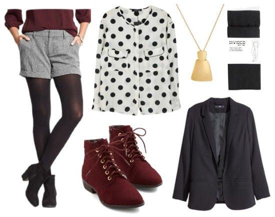 Gray shorts polka dot blouse black blazer