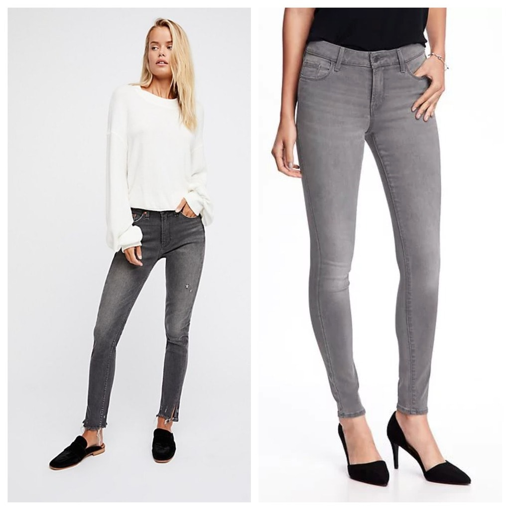 Gray skinny jeans: The first pair is from Free People and the second is from Old Navy. They are both paired with tops and one model is wearing black mules and black heels.