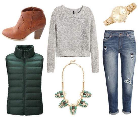 Gray sweater boyfriend jeans green vest