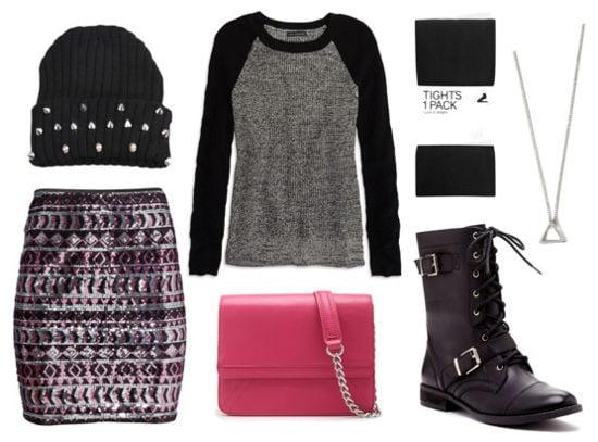 Gray sweater, sequin skirt, black combat boots