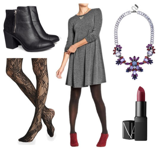 Gray swing dress lace tights black boots