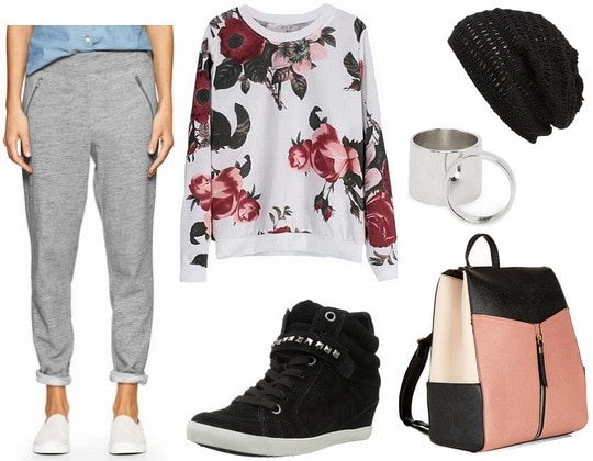 Gray trackpants floral sweatshirt outfit