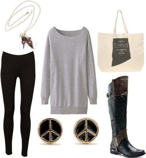 How to wear a gray tunic to a college class with leggings, simple studs, riding boots, a necklace and a basic tote