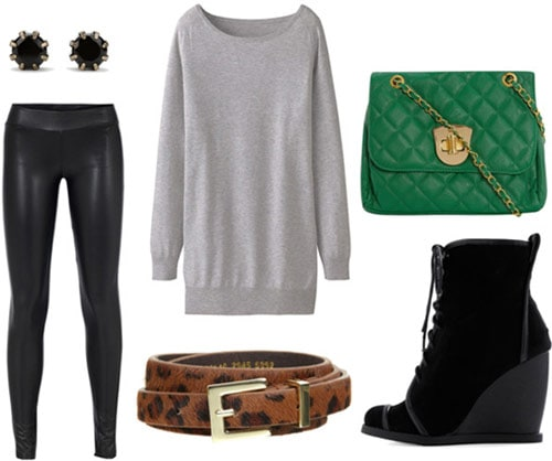 How to wear a gray tunic for a night out with liquid leggings, a leopard belt, green purse, stud earrings and lace-up wedge booties