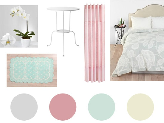 pale gray dorm decor