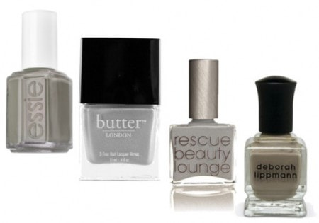 Gray nail polish - Essie Chinchilly, butter LONDON Lady Muck, Rescue Beauty Lounge Concrete Jungle, and Deborah Lippmann - Waking Up in Vegas