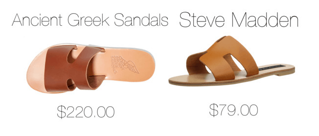 Photo including two pairs of Greek sandals, one from Ancient Greek Sandals, the other from Steve Madden.