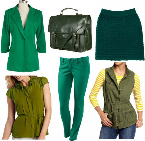 Green clothes and accessories