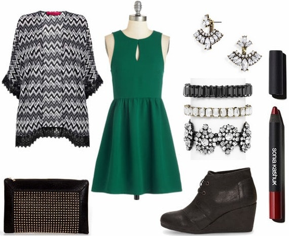 Green skater dress night out look