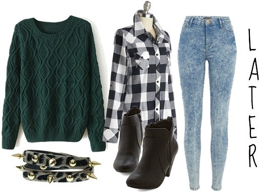 Green sweater plaid shirt and jeans autumn look