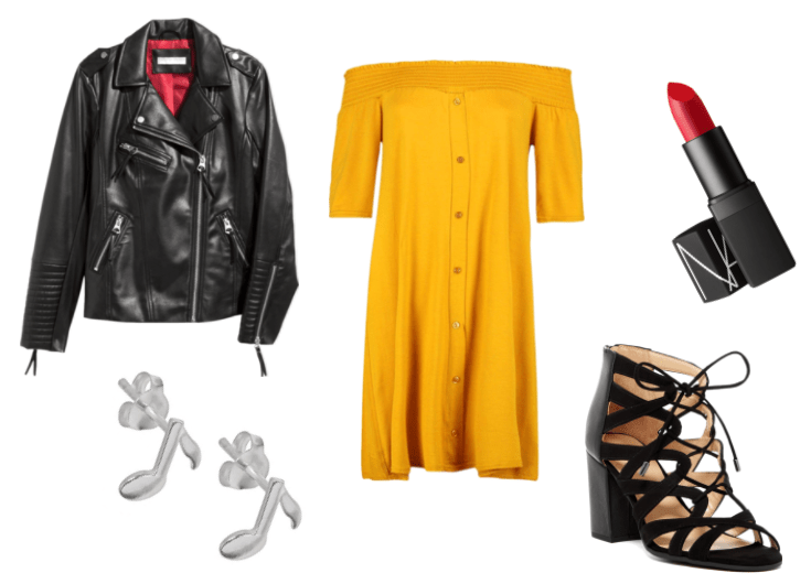 Outfit inspired by Greg from A Night in the Woods: yellow off the shoulder dress, NARS Jungle Red semi-matte lipstick, music note silver earrings, leather jacket and black strappy block heeel